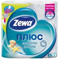 Бумага туалетная Zewa Плюс, 2-слойная, 4шт., тиснение, голубая, океанская свежесть