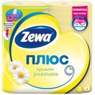 Бумага туалетная Zewa Плюс, 2-слойная, 4шт., тиснение, желтая, ромашка