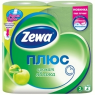 Бумага туалетная Zewa Плюс, 2-слойная, 4шт., тиснение, зеленая, яблоко