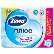 Бумага туалетная Zewa Плюс, 2-слойная, 12 рулонов, тиснение, белая