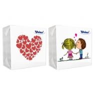 Салфетки бумажные Veiro, 1 слойн., 24*24см, белые, рисунок Сердечки, Love is..., 50шт.