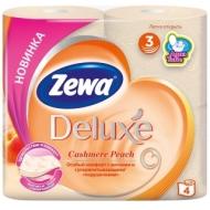 Бумага туалетная Zewa Deluxe 3-слойная, 4шт., тиснение, персиковая