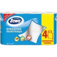 Полотенца бумажные в рулонах Zewa, 2-слойные, 14м/рул, тиснение, белые, 4шт.