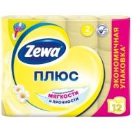 Бумага туалетная Zewa Плюс, 2-слойная, 12шт., тиснение, желтая, ромашка
