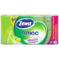 Бумага туалетная Zewa Плюс, 2-слойная, 8шт., тиснение, зеленая, яблоко