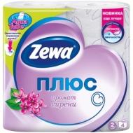 Бумага туалетная Zewa Плюс, 2-слойная, 4шт., тиснение, розовая, сирень