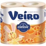 Бумага туалетная Veiro Classic 2-слойная, 4шт., ароматизир., тиснение, желтая
