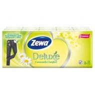 Платки бумажные носовые Zewa Deluxe 3-слойные, 19*21см, белые, аромат ромашки, 10 пачек по 10шт.