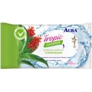 Салфетки влажные Aura Tropic coctail, 60шт., освежающие