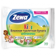Бумага туалетная влажная Zewa Kids, 42шт./пач., без спирта, цефленовый пакет