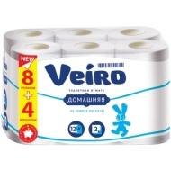 Бумага туалетная Veiro Домашняя 2-слойная, 12шт., тиснение, белая