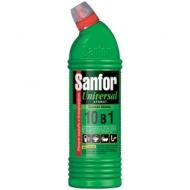 Чистящее средство для сантехники Sanfor Universal 10в 1. Зеленое яблоко, гель с хлором, 750мл
