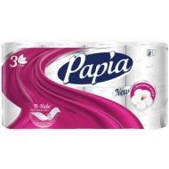 Бумага туалетная Papia, 3-слойная, 8шт., тиснение, белая