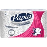 Полотенца бумажные в рулонах Papia, 3-слойные, тиснение, белые, 1/2 листа, 4шт.