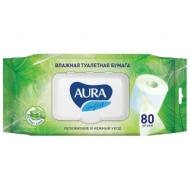 Бумага туалетная влажная Aura Ultra Comfort, 80шт/пач., экстаркт алоэ, без спирта, клапан