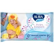 Салфетки влажные Aura Ultra comfort, 15шт., детские, универсал. очищающие, без спирта