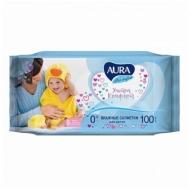 Салфетки влажные Aura Ultra comfort, 100шт., детские, универсал. очищающие,без спирта