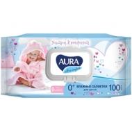 Салфетки влажные Aura Ultra comfort, 100шт., детские, с алоэ, очищающие, без спирта, клапан