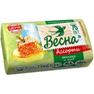 Мыло туалетное Весна Молоко и мед, бумажная обертка, 90г