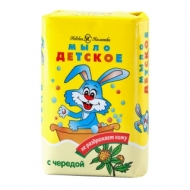 Мыло туалетное Невская Косметика Детское, с чередой, бумажная обертка, 90г