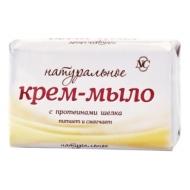 Мыло-крем туалетное Невская Косметика Натуральное, с протеинами шелка, бумажная обертка, 90г