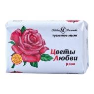 Мыло туалетное Невская Косметика Цветы любви. Роза, бумажная обертка, 90г