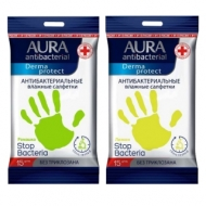 Салфетки влажные Aura Derma Protect pocket-pack , 15шт., антибакт., с лимоном/ромашкой