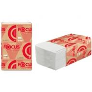 Салфетки бумажные диспенсерные Focus Premium (V-сл), 2-сл., 200л/пач. 16,8*23см, тисн., белые