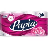 Бумага туалетная Papia Secret Garden, 3-слойная, 8шт., ароматизир., розовое тиснение, белый
