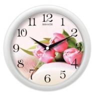 Часы настенные Салют ПЕ-Б7-226, круг, с рисунком Тюльпаны, Белая рамка, 24,5х24,5х3,5 см