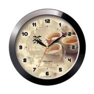Часы настенные Troyka 11100188, круг, бежевые с рисунком в азиатском стиле, Черная рамка, 29х29х3,5 см