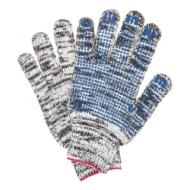 Перчатки хлопчатобумажные, Комплект 5 пар, 7 класс, 60-62 г, 216 текс, ПВХ-точка, Лайма Профи, меланж, 604471