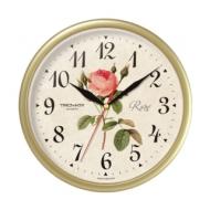 Часы настенные Troyka 91971923, круг, с винтажным рисунком Roze, бежевая рамка, 23х23х4 см