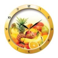 Часы настенные Troyka 11150157, круг, Белые с рисунком Фрукты, Желтая рамка, 29х29х3,5 см
