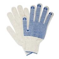 Перчатки хлопчатобумажные, комплект 5 пар, 7 класс, 65-67 г, 216 текс, ПВХ точка, Лайма Профи XL, белые, 604472