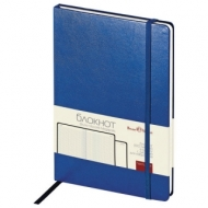Бизнес-Блокнот А5, 100 л., твердая обложка, балакрон, на резинке, BV, Синий, 3-101/01