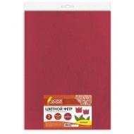 Цветной фетр для творчества, 400х600 мм, Остров сокровищ, 3 листа, толщина 4 мм, плотный, красный, 660658