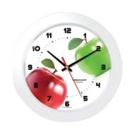 Часы настенные Troyka 51510533, круг, Белые с рисунком Яблоки, Белая рамка, 30,5х30,5х5,4 см