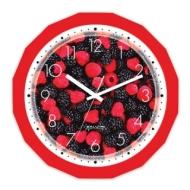 Часы настенные Салют П-Г1-190, многоугольник, с рисунком Ягоды, Красная рамка, 28х28х4 см