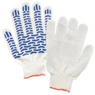 Перчатки хлопчатобумажные, Комплект 5 пар, 7,5 класс, 46-48 г, 166 текс, ПВХ волна, Лайма стандарт, белые, 600800