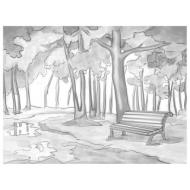 Холст на картоне с контуром Brauberg Art Classic Осень, 30х40 см, грунтованный, хлопок, 191546