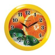 Часы настенные Troyka 11150126, круг, с рисунком Апельсин, Желтая рамка, 29х29х3,5 см