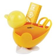 Канцелярский детский Набор Юнландия ЦЫПЛЕНОК, 4 предмета: подставка, линейка со скрепками, ножницы, ластик, цвет желтый, блистер, 236959