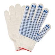 Перчатки хлопчатобумажные, Комплект 5 пар, 10 класс, 40-42 116 текс, ПВХ-точка, Лайма Люкс, Белые, 604469