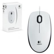 Мышь проводная Logitech B100, USB, 2 кнопки + 1 колесо-кнопка, оптическая, белая, 910-003360