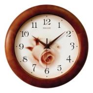 Часы настенные Салют ДС-ББ28-432, круг, бежевые с рисунком Роза, деревянная рамка, 31х31х4,5 см