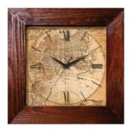 Часы настенные Салют ДСТ-4АС28-462, квадрат, с рисунком Магеллан, деревянная рамка, 35х35х4,5 см