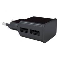 Зарядное устройство сетевое (220 В) Red line NT-2A, 2 порта USB, выходной ток 2,1 А, черное, УТ000009404