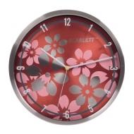 Часы настенные Scarlett SC-33B, круг, коричневые с цветочным рисунком, серебристая рамка, 30x30x5,2 см, SC - 33B