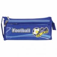 Пенал Юнландия для мальчиков, 3 отделения, полиэстер, Футбол, синий, 20х7х9 см, 228979
